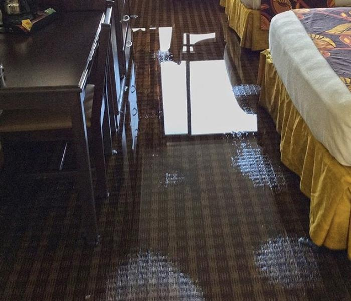 Water overflow in hotel room