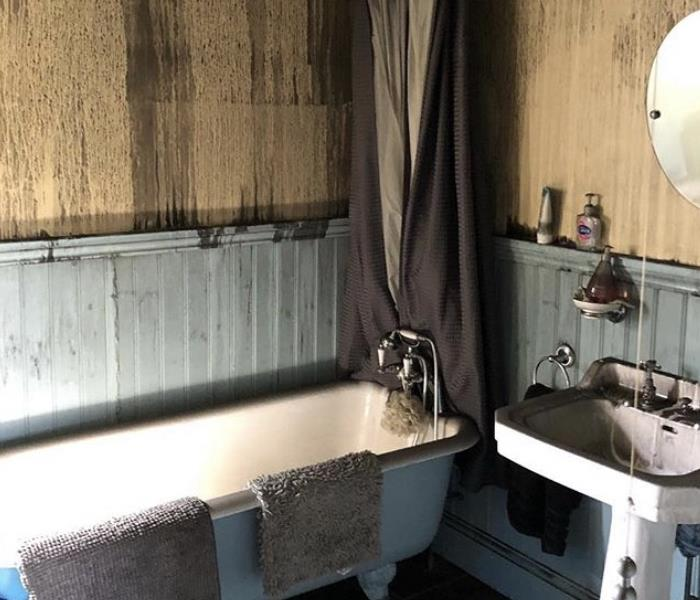 Bathroom after fire damage